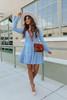 V-Neck Light Wash Denim Tiered Dress