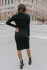 Button Detail Black Ribbed Midi Dress