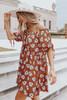 Off the Shoulder Rust Floral Satin Dress