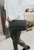 Talia Woven Black Crossbody Clutch