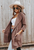Open Front Peach Skin Brown Hooded Jacket
