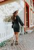 Square Neck Black Tie Back Brushed Dress