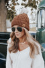 Upstate Fleece Lined Brown Cable Pom Beanie