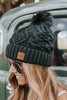 Upstate Fleece Lined Black Cable Pom Beanie