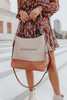 Faux Leather Grey/Taupe Contrast Hobo Bag
