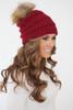 Pom Knit Beanie - Burgundy - FINAL SALE