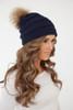Pom Knit Beanie - Navy - FINAL SALE