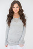 Long Sleeve Ruched Knit Tunic - Heather Grey - FINAL SALE