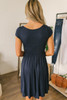 Short Sleeve Empire Waist Dress - Navy - FINAL SALE