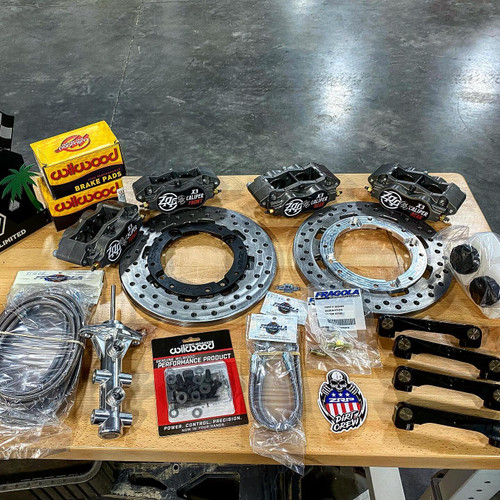 ZRP Can Am X3 Big Brake Kit, whole assemble, Wilwood: Calipers, sliders, and Master Cylinder. Front and Rear Calipers ZRP: Brake Upgrade Discs and adaptors. Fragola: Brake lines and fittings.