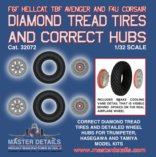 32072-F6F Hellcat, TBF and F4U Corsair Diamond Tires and Hubs