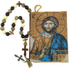 Tapestry pouch, icon of Christ Pantocrator with prayer beads