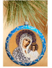 Ornament, Kazan Mother of God on blue with silver accents, Ukrainian, decorating tree