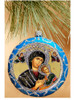 Ornament, Perpetual Help on blue with silver accents, Ukrainian, Christmas ornament