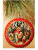Ornament, Nativity with Angels on red with gold accents, Ukrainian, on Christmas tree