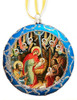 Ornament, Nativity with Angels on blue with silver accents, Ukrainian