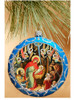 Ornament, Nativity with Angels on blue with silver accents, Ukrainian, on Christmas tree