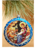 Ornament, Nativity on blue with silver accents, Ukrainian, decorating Christmas tree