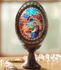 Wood egg on stand, Nativity with Angels icon, small