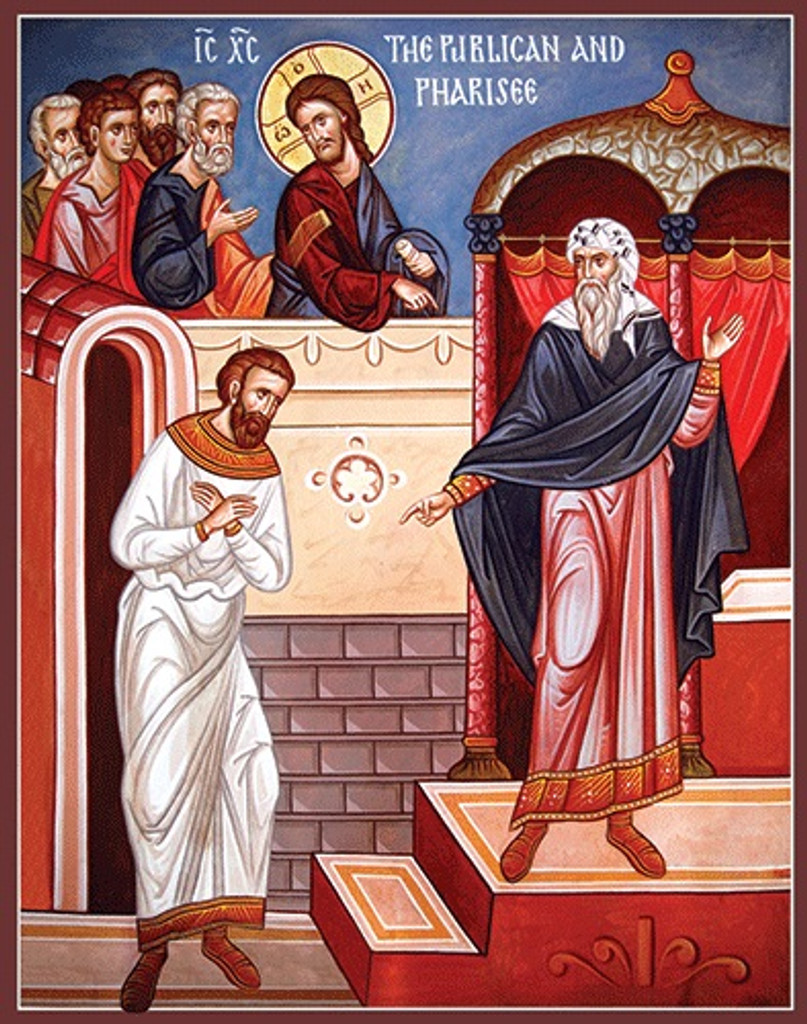 Parable of the Publican and Pharisee, large icon. From Luke 18:9-14