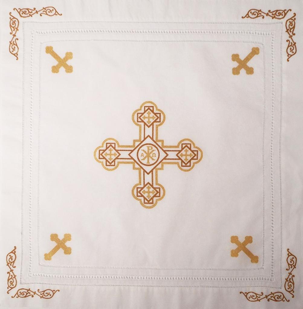 Orthodox Cross Linen, Pascha basket cover / Slava Kolach. Gold design.