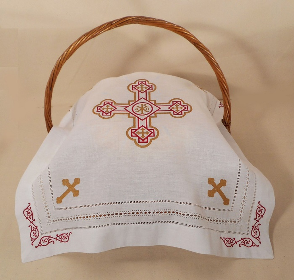 Orthodox Cross Linen, pictured as Pascha basket cover. Red and gold design.