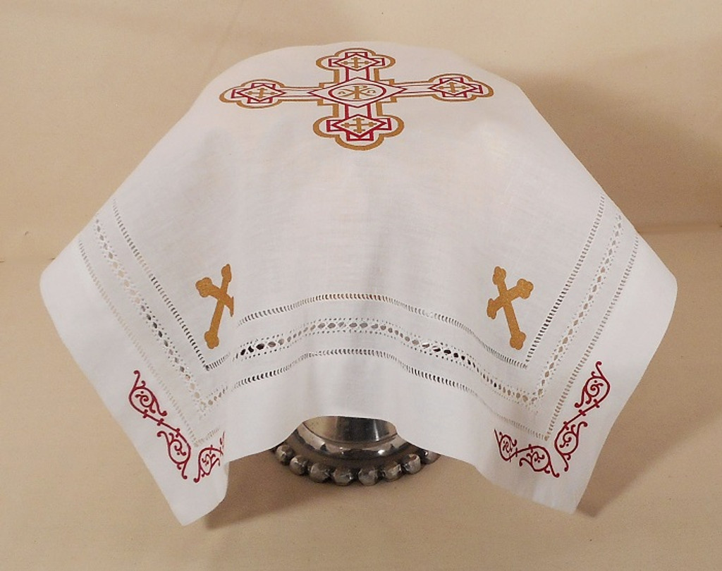 Orthodox Cross Linen, pictured as Slava Kolach cover. Red and gold design.