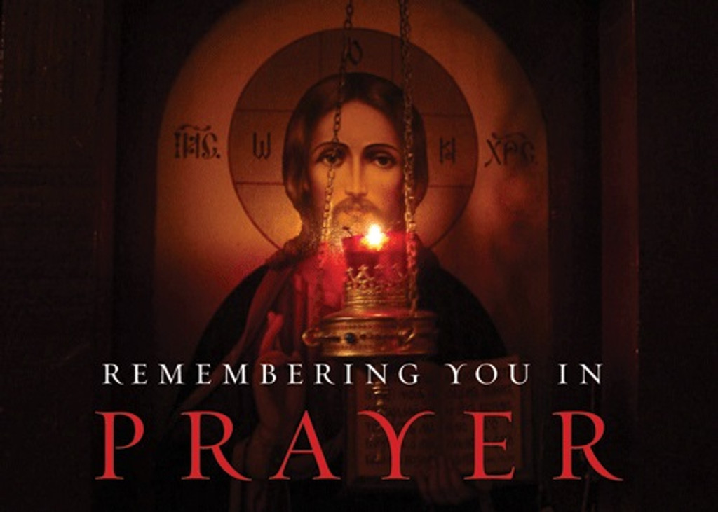 Remembering You in Prayer (lampada and icon of Christ), pack of 10 cards