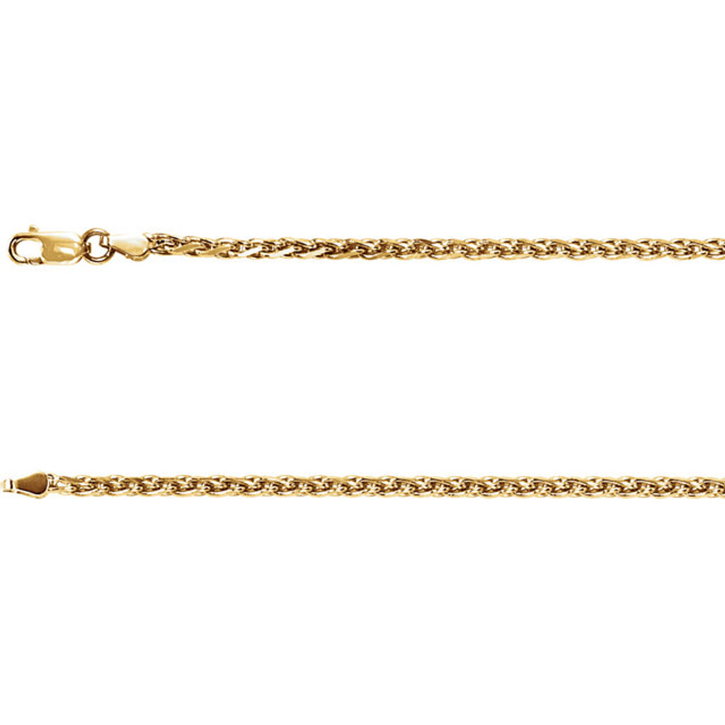 "20"" 14k Yellow Gold Rolled Wheat Chain (1.5mm with lobster claw clasp)"
