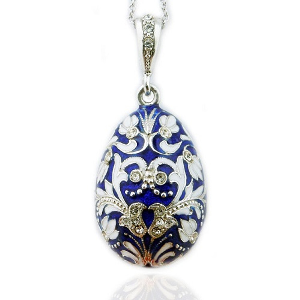 Egg Pendant, Fabergé style, sterling silver, blue and white