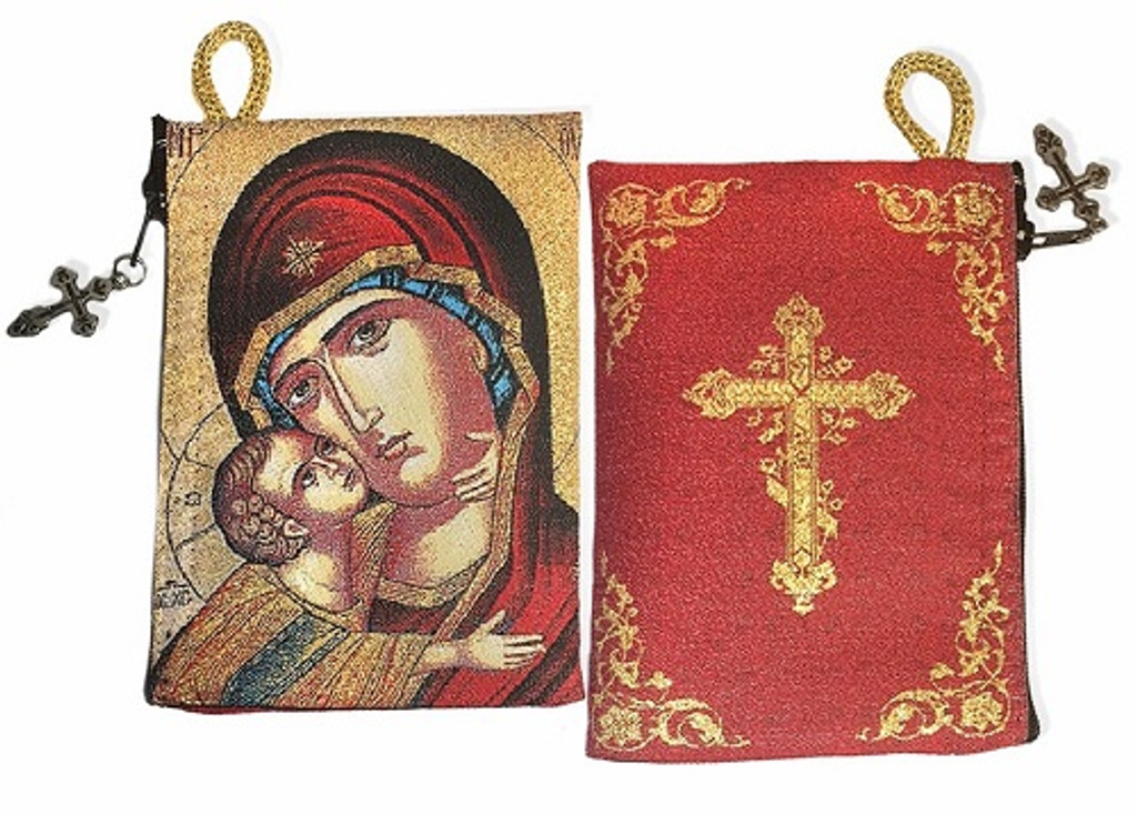Tapestry pouch, Vladimir Mother of God and Cross