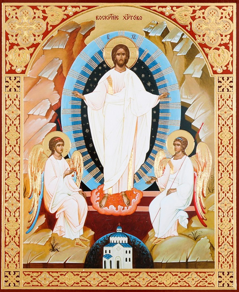 Resurrection of Christ with Angels (gold foil on wood), small icon. A wonderful gift for Lent & Pascha!