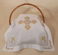 Orthodox Cross Linen, pictured as Pascha basket cover. Gold design.
