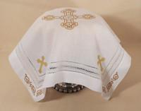 Orthodox Cross Linen, pictured as Slava Kolach cover. Gold design.