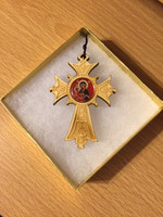 Wood Cross Ornament with icon of Virgin and Child in gold-tone gift box