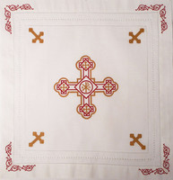 Orthodox Cross Linen, Pascha basket cover / Slava Kolach. Red and gold design.