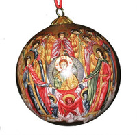 Ornament, handpainted icon of the Synaxis of the Angels