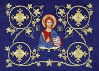 Embroidered Icon of Christ, individual blank note card