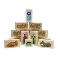 Little Saints Nativity Playset B. includes a fabric storage bag and 15 blocks.