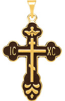St. Xenia Cross, 14k yellow gold with black inlay
