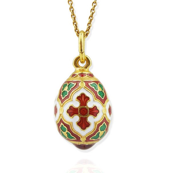 Egg Pendant, Fabergé style with cross, red and green, chain included