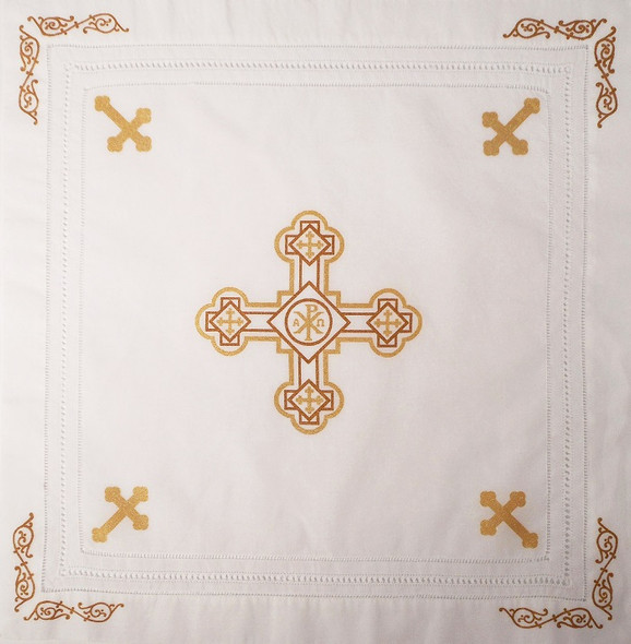 Orthodox Cross Linen, Pascha basket cover / Slava Kolach. Gold design.