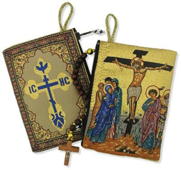 Tapestry pouch, icon of the Crucifixion. Great for keepsakes or as a small travel bag.