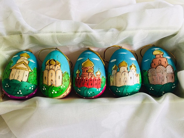Set of 5 wood egg ornaments with hand-painted church scenes