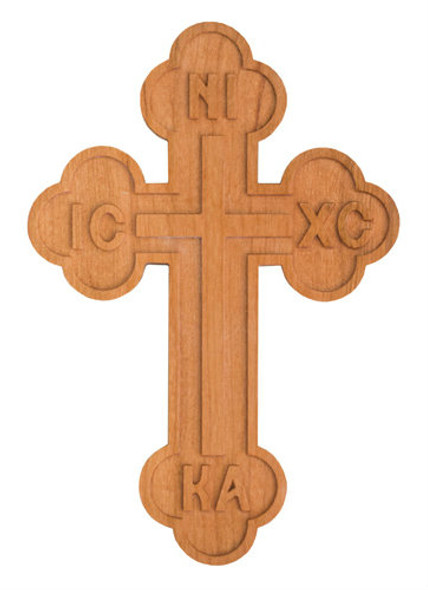 Wood Wall Cross, Budded with ICXC NIKA