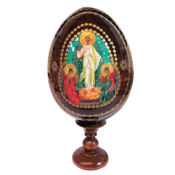 Wood Egg on Stand, with Icon of the Resurrection of Christ