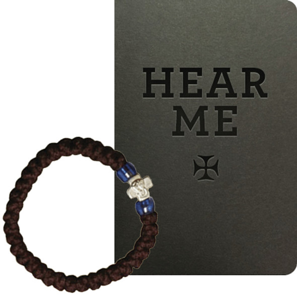 For Student: Hear Me / Prayer Bracelet, 33 knots with silver-tone cross and blue beads