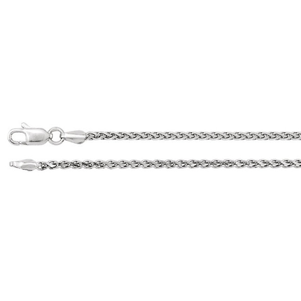 "18"" Sterling Silver Rolled Wheat Chain (2.0mm with lobster claw clasp)"