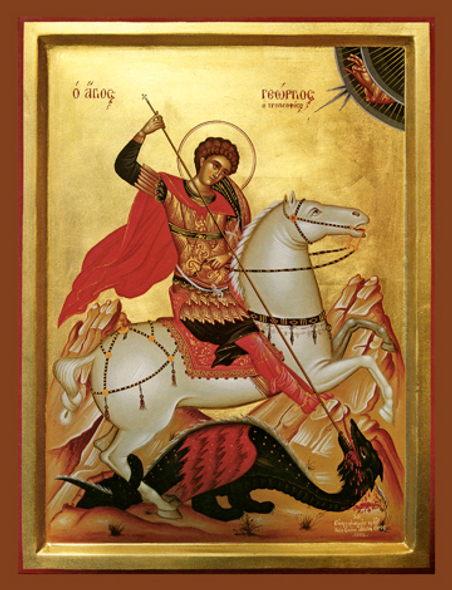 Saint George, large icon. Saint George slays the dragon.