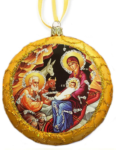 Ornament, Nativity icon on gold, Ukrainian